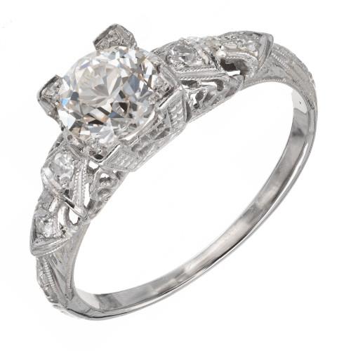 Vintage Art Deco Old European Cut Diamond Engagement Ring Platinum Filigree