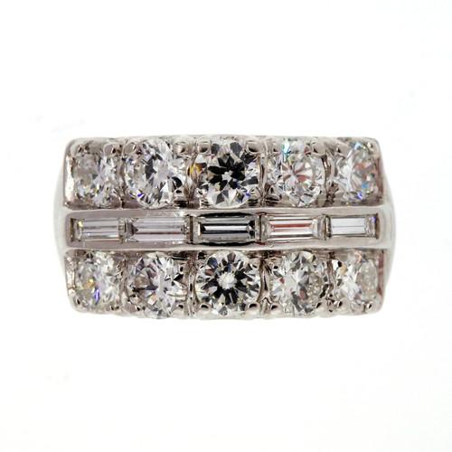 Vintage 1960 3 Row 2.00ct Round Baguette Diamond Wedding Band Ring