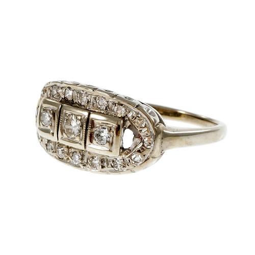 Vintage 1950 Diamond Dome Ring 14k White Gold