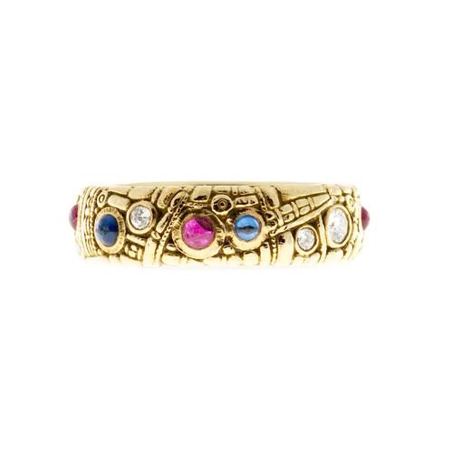 Estate Alex Sepkus Diamond Sapphire Ruby 18k Eternity Band Ring