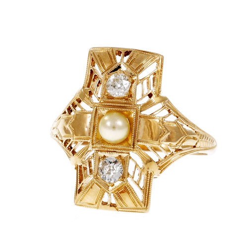 Vintage 1940 Filigree Cultured Pearl Diamond Ring 14k Yellow Gold