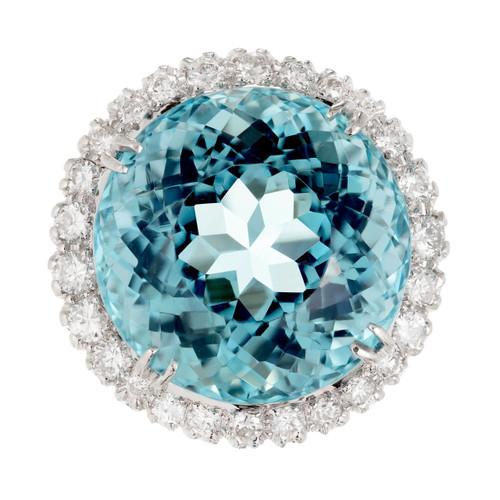1950 Santa Maria Round Aqua Diamond Cocktail Ring 14k White Gold