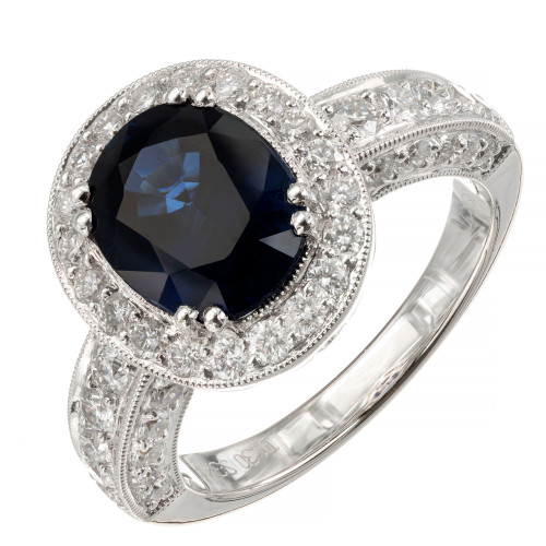 GIA Certified 3.48 Carat Royal Blue Sapphire Diamond Halo Gold Engagement Ring