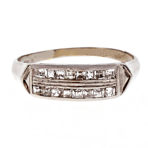 Vintage Retro Square Diamond Platinum Wedding Band Ring