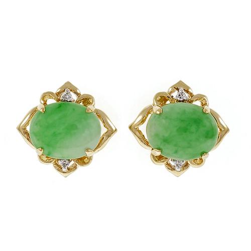 GIA Certified Jadeite Jade Diamond Gold Earrings