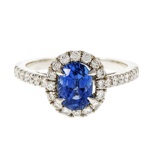 Peter Suchy 1.77 Carat Oval Sapphire Diamond Halo Gold Engagement Ring