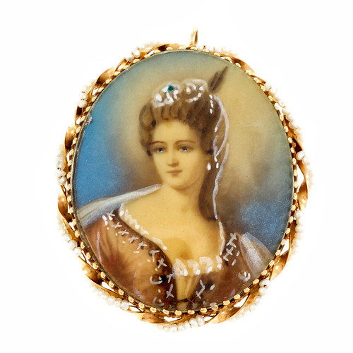 Vintage Porcelain Enamel Hand Painted Pin Pendant Seed Pearls 14k Yellow Gold