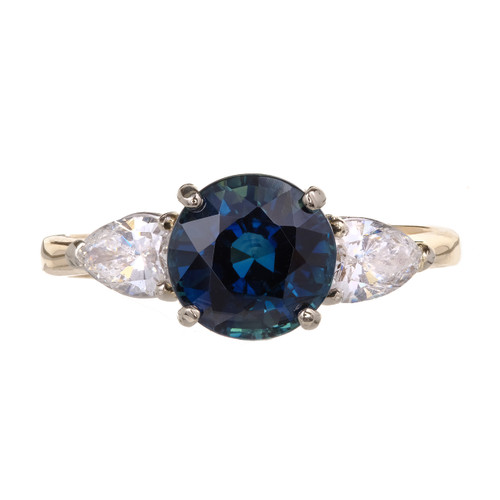 Estate Natural GIA Certified Sapphire Engagement Ring 14k Pear Shape Diamonds