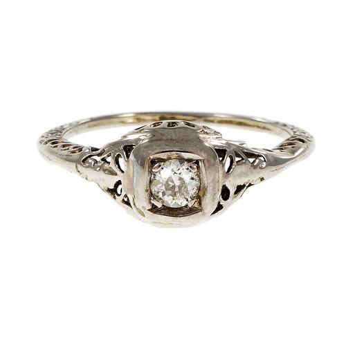Vintage Filigree 1930 Old European Cut Diamond Ring
