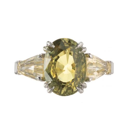 Peter Suchy GIA 6.46 Carat Sapphire Platinum Three-Stone Engagement Ring