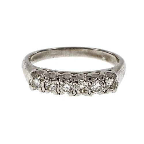 Vintage Platinum Diamond Wedding Band Ring Fishtail Prongs