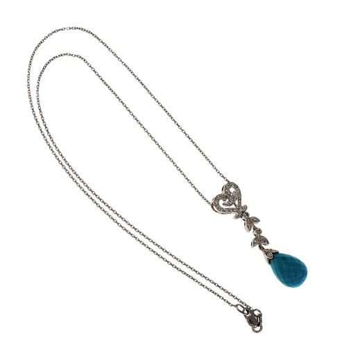 Estate Turquoise Briolette Drop Pendant Necklace 14k White Gold