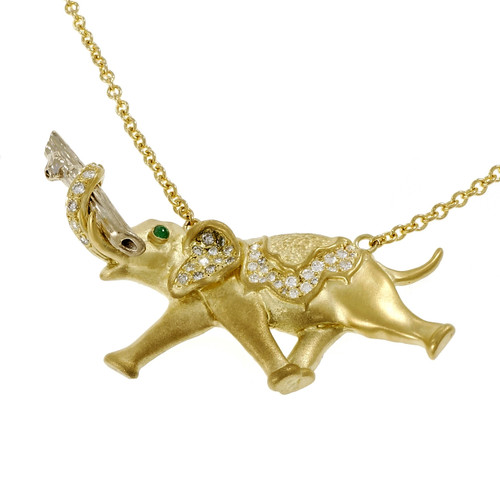 Emerald Diamond Gold Elephant Pendant Necklace