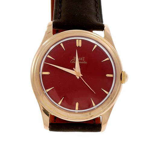 Piaget Automatic 18k Rose Gold Wrist Watch Custom Red Dial