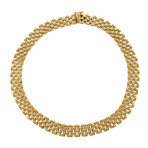 Estate 5 Row Panther Link Necklace 14k Yellow Gold Italian