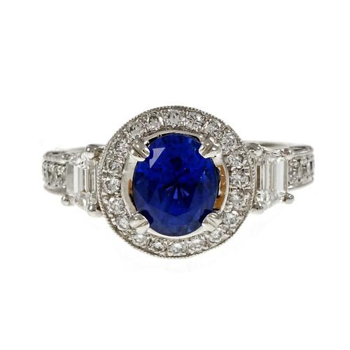 Natalie K Natural Sapphire Engagement Ring Platinum Diamond Halo