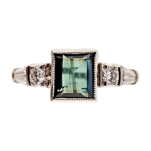 Antique Art Deco Natural Alexandrite 1.43ct Platinum Diamond Ring