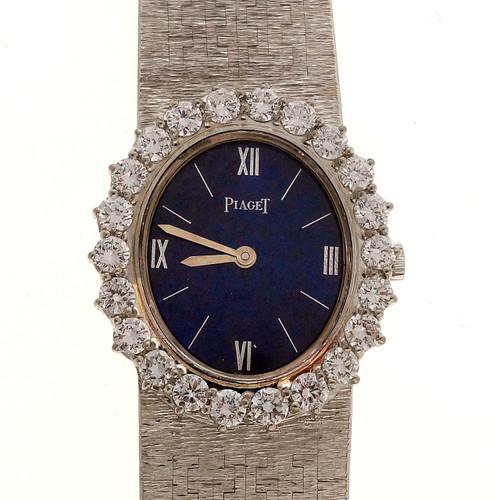 Blue Lapis Dial 2.20ct Diamond Ladies 18k White Gold Piaget Watch