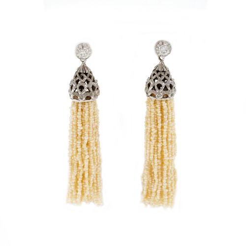 1.00 Carat Diamond Natural Seed Pearl Tassel Dangle Drop Gold Earrings