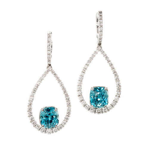 Estate Teal Blue Zircon Dangle Earrings 14k White Gold Diamond