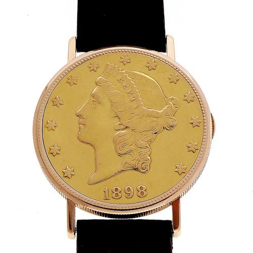 Men's Vintage US $20 Gold Coin Watch Eska 17 Jewels 18k Eska Movement