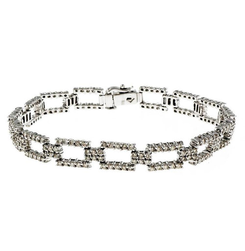 Rectangular Link Diamond Bracelet 14k White Gold