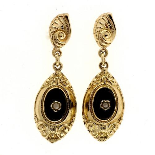 Vintage 1940 Black Onyx Pearl 14k Yellow Gold Dangle Earrings