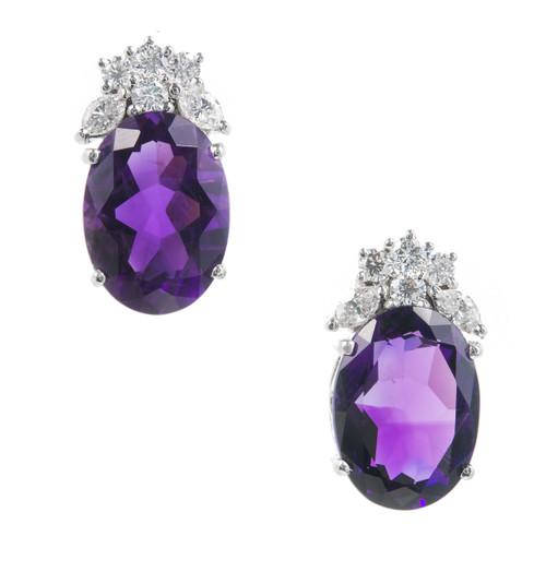 Estate Deep Purple Amethyst Diamond Earrings 18k White Gold
