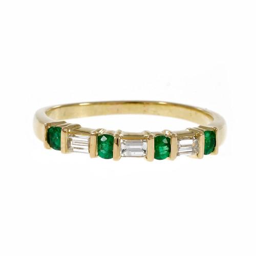 Estate Fine Emerald Diamond Wedding Band Ring