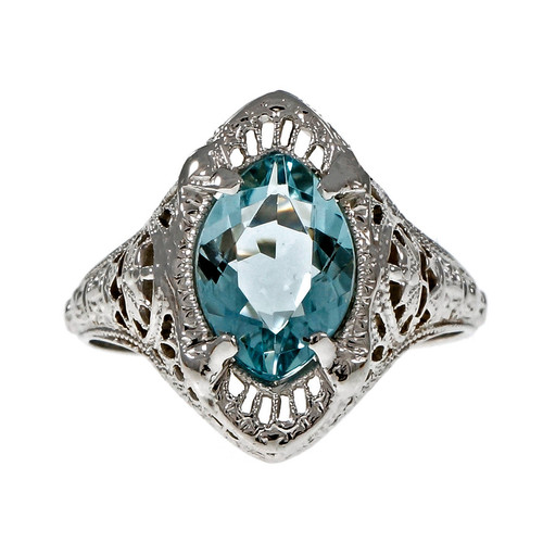 Vintage Art Deco Marquise Aqua Filigree Ring 14k White Gold