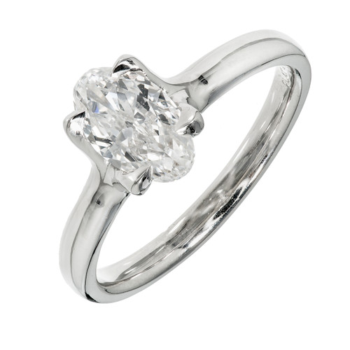 Peter Suchy Elongated Oval Diamond Solitaire Engagement Ring Platinum