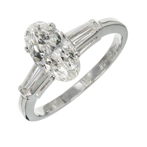 Old European Oval Diamond Engagement Ring Platinum Baguette Sides