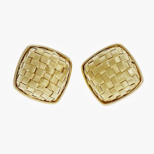 Estate Basket Weave Domed Earrings 14k Yellow Gold Italian