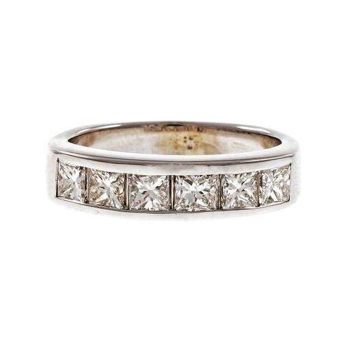 Estate Princess Cut Channel Set Wedding Band Ring 14k White Gold