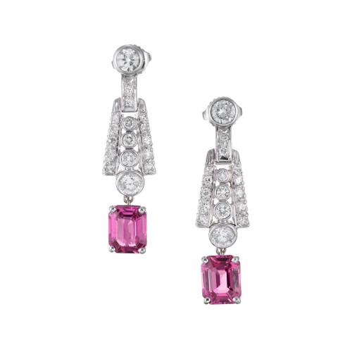 GIA Certified 4.30 Carat Pink Sapphire Diamond Platinum Dangle Drop Earrings
