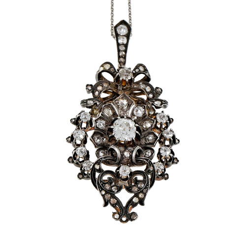Victorian 1860 Old Mine Rose Cut Diamond Pendant Silver Top 14k Gold