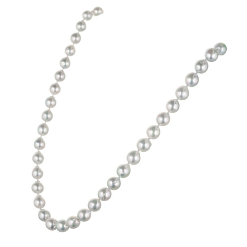 Natural Grey Japanese Akoya Cultured Pearl Gold Necklace