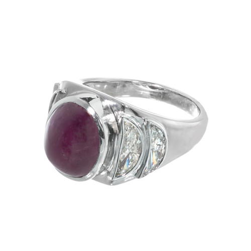 Modernist 1950 Cabochon Ruby Ring Half Moon Diamond Baguettes Platinum