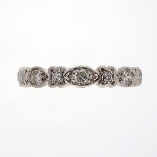 Antique Art Deco 1930 Platinum Diamond Eternity Ring Size 8