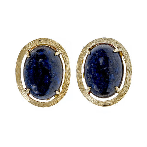 Estate 1955 Lapis Cabochon Earrings 14k Yellow Gold Textured