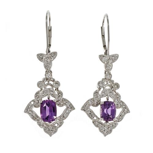 Peter Suchy Rare Pink Purple No Heat Sapphire Dangle Earrings Platinum Diamond