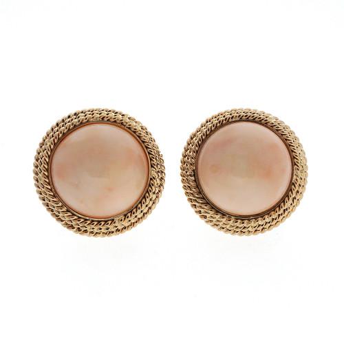 Vintage 1950 Mid Century 14k Pink Coral 14k Gold Earrings 17.3mm