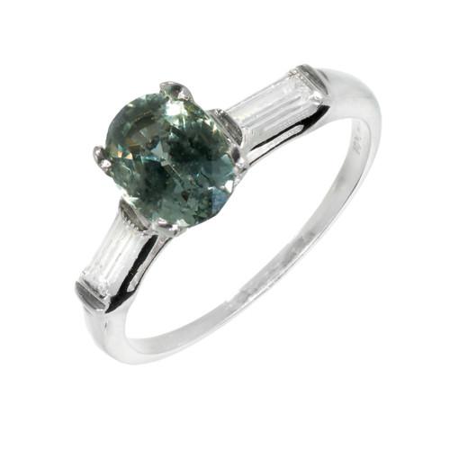 Vintage 1940 Rare Natural Green Sapphire Engagement Ring Platinum Diamond GIA
