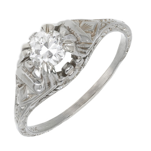 Antique Art Deco .40ct 18k White Gold Filigree Ring