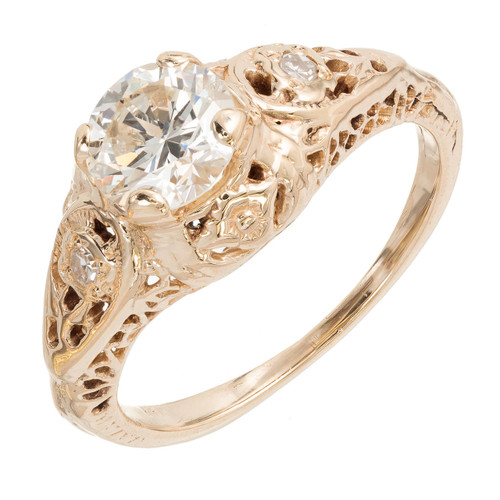 Vintage 1930 transitional Cut Diamond Filigree Engagement Ring 14k