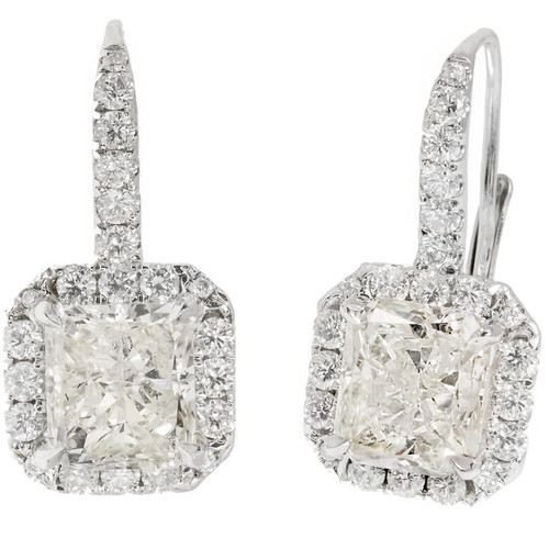 Peter Suchy Radiant Cut Diamond Halo Dangle Earrings 18k White Gold