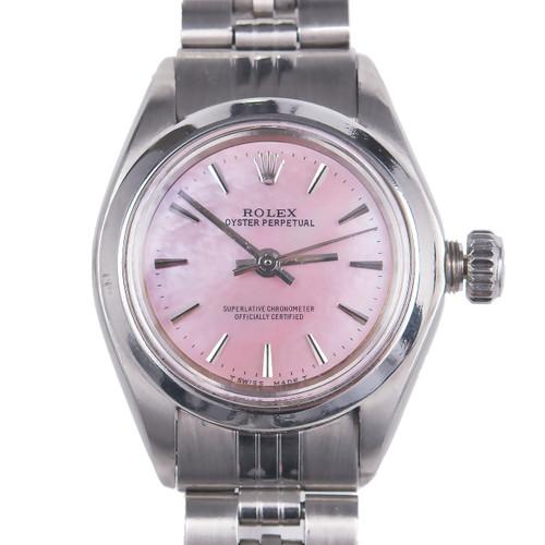 Vintage Rolex Ladies 6718 Oyster Perpetual Pink Mother Of Pearl Dial Steel Watch