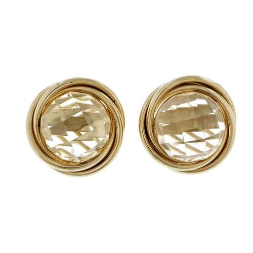 Estate Button Faceted Quartz Earrings Clip Post 14k Yellow Gold