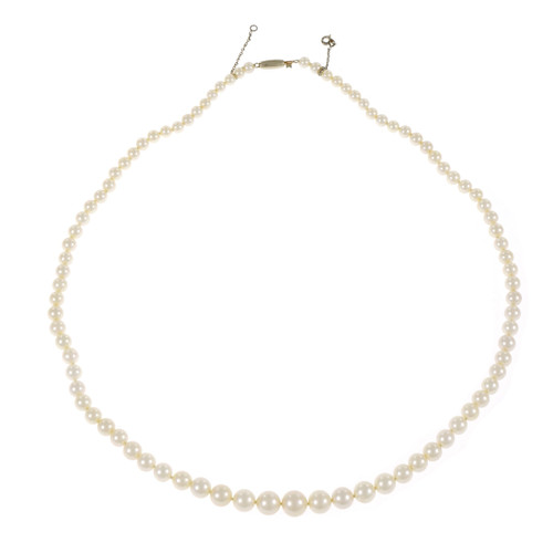 Vintage 1960 Graduated Japanese Cultured Pearl Necklace 14k White Gold Catch