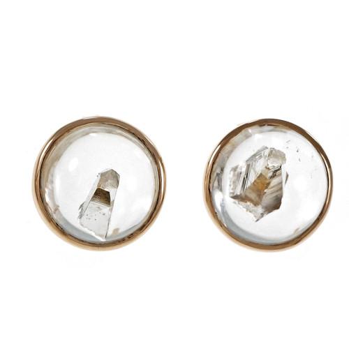 Peter Suchy Rare Quartz Manifestor Crystal Earrings 14k Pink Gold